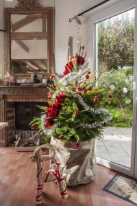 Belle décoration de sapin de Noël en pot