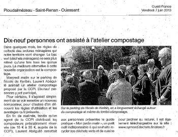 Article Ouest-France atelier compostage Ploudalmézeau
