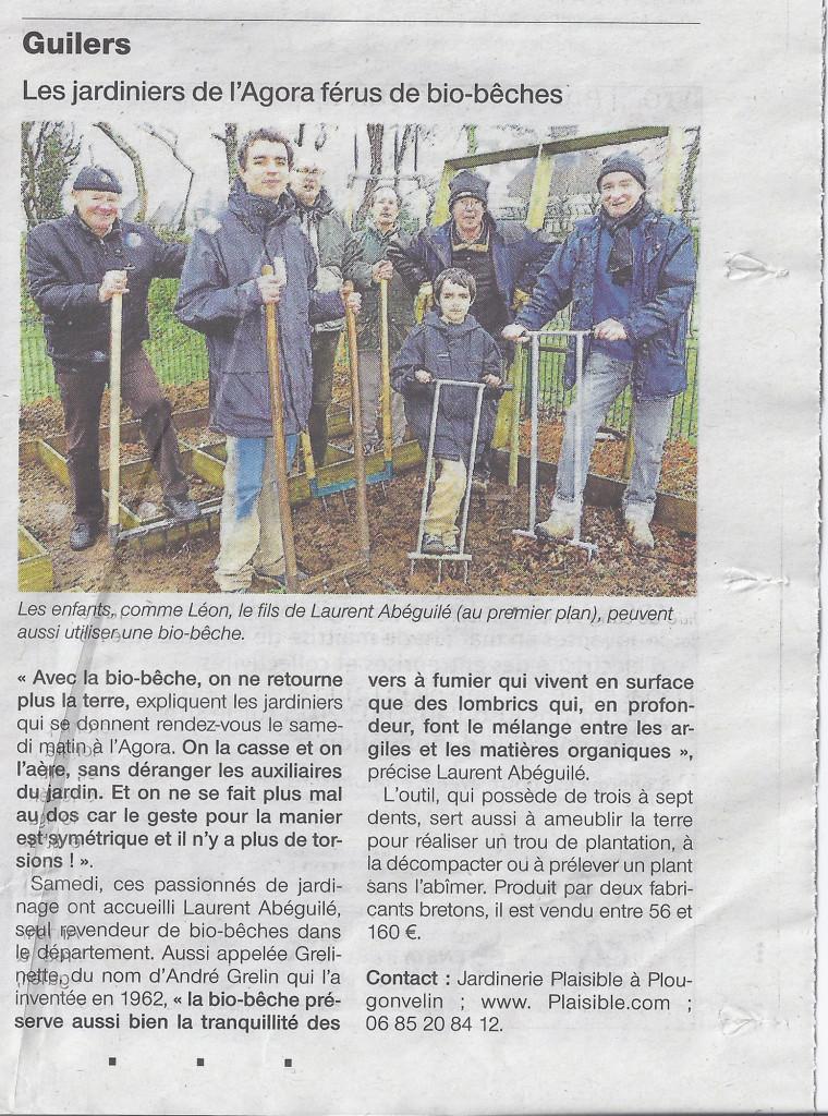 Article de Ouest-France sur la présentation de biobêches et diverses grelinettes à l'Agora de Guilers