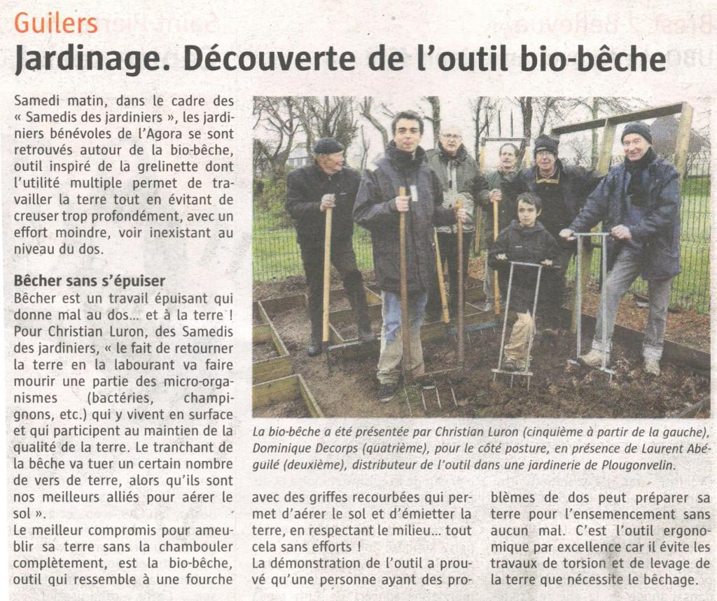Article du Télégramme sur la démonstration de la biobêche à l'Agora de Guilers